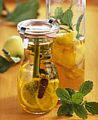 Homemade lemon vinegar with lemon balm
