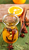 Homemade seasoning oil with oranges