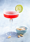 Prosecco Campari Aperitif served with salted almonds