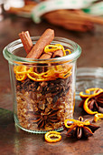 Homemade mulled wine spice mix in a glass