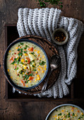 Creamy vegetable soup with corn
