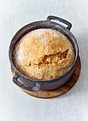Bran nut bread in a pot