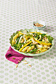 Penne Primavera with peppers, fennel and mangetout