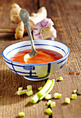 Homemade tomato and ginger ketchup with garlic