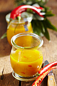 Homemade pineapple ketchup with chili