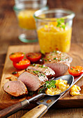 Roasted lamb fillets with homemade peach ketchup