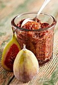 Homemade spicy fig dip with port wine