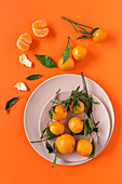 Fresh tangerines in season on orange background