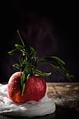 Roter Apfel mit Blättern vor dunklem Hintergrund