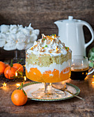 Tangerine jelly, vanilla cream, sponge and italian meringue trifle