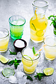 Pineapple juice lime and mint drink