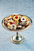 Tea time biscuits on a cake stand
