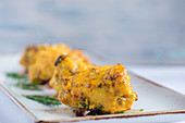 Monkfish kebabs with saffron marinade