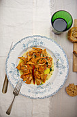 Fried chanterelles on a plate