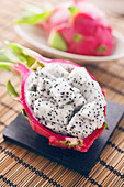 Diced dragon fruit in the skin