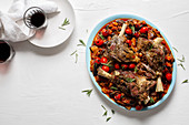 Slow roasted lamb shanks with aubergine and tomato stew