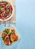 Pork chops with cabbage and apple stir fry