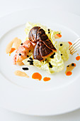 Lobster on lettuce hearts with truffle vinaigrette