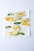 Zucchini flowers in tempura batter