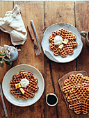 Waffles with butter and cream