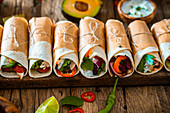 Mexican tortilla wraps with vegetables