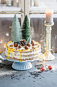 A Christmas cake made with eggnog