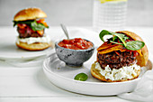 Burgers with grilled beef patties, cream cheese and spinach