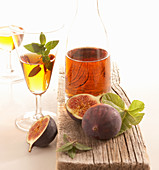 Homemade fig liqueur with cinnamon, cardamom, rock sugar and rum