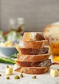 Stack of freshly cut Bread Slices