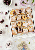 Gluten Free Cherry and Almond Sponge Cake Squares