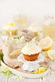 Vegan Elderflower and Lemon Cupcake with an Elderflower Drink