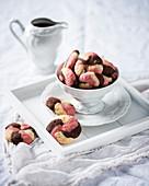 Vegan raspberry, vanilla, and chocolate biscuits