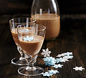 Homemade Irish cream liqueur with coffee, cocoa, whisky and condensed milk