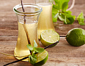 Homemade lime mint syrup with vanilla