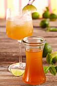 Homemade lime syrup with brown sugar