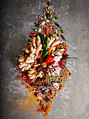 Arrangement of fresh and dried spices
