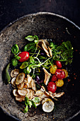 Jerusalem salad with cherry tomatoes and herbs