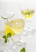 Homemade kiwi liqueur with ice, mint and vodka