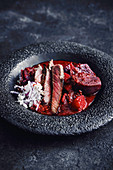 Fried entrecote with beetroot and garam masala