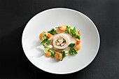 Sole rolls with lobster, spring vegetables and Gewürztraminer wine sauce