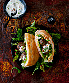 Donner kebab with kofte and yoghurt sauce