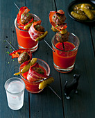 Bloody Mary's with meatballs on sticks