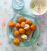 Coconut tofu balls in a crispy coating with a lime dip