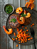 Surf & Turf with meatballs, prawns and sweet potatoes
