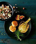 Vegan fritters with grilled fennel and a lentil salad