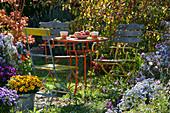 Kleine Sitzgruppe im herbstlichen Garten