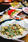 Colourful potato salad with a honey and mustard dressing