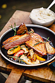 Duck breast fillet with peaches, king trumpet mushrooms and rosemary