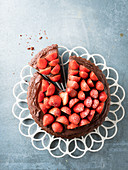 Strawberry and chocolate cake, sliced