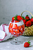 Fresh strawberries with yogurt and chia seeds